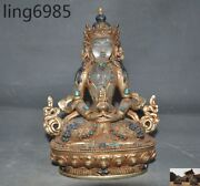 A Tibet Crystal Silver Filigree 24k Gold Turquoise Coral Amitayus Buddha Statue