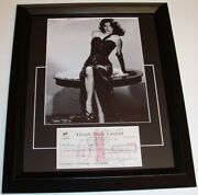 Ava Gardner Autographed Signed Bank Check Framed Certificate Of Authenticity Coa