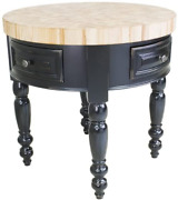 Round Kitchen Island With 2 Drawers In Black Finish