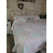Shabby Chic Cottage Soft Pink Green Leaf Lace Lavender Lilac Ruffle Quilt Set