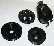 Black Saginaw Power Steering Pump A-can Style + Water Pump And Crank Pulleys Bbc