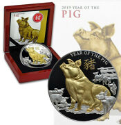 Niue 8 Dollars 2019 Silver Gold Plated Proof 5 Oz 65mm 'year Of The Pig' Mtg.500