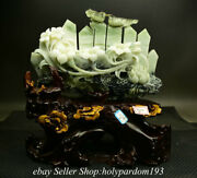 12.8 Chinese Natural Xiu Jade Carved Fengshui Flower Bird Stone Statue