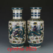 16old China Porcelain Qing Qianlong Multicolored Dragon Shaped Mallet Bottle