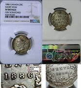 1886 Canada 25 Cents 6 Over 7 Variety Ngc Xf Details - Ngc Highest Grade Pop 2