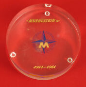 Vintage H. Muehlstein Co. 1911 - 1964 Lucite Advertising Paperweight Plastic