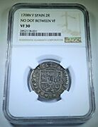 Ngc Vf-30 1708 Spain Silver 2 Reales 1700s Antique Spanish Colonial Two Bit Coin