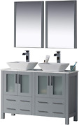 Blossom Sydney 48 Inches Double Bathroom Vanity Vessel Ceramic Sink With Mirror