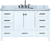Dkb Beckford Series 55 Inch Single Rectangle Sink Bathroom Vanity Cabinet In Wh
