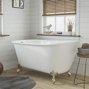 54 Cast Iron Swedish Tub With No Faucet Holes Brushed Nickel Feet- Gentry