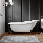 61 Acrylic Slipper Clawfoot Tub Deck Mount Plumbing Package Oil Rubbed Bronze-