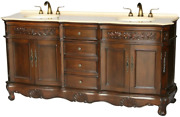 Chinese Arts Inc 72-inch Antique Style Double Sink Bathroom Vanity Model 2003-b