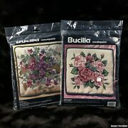 2 Bucilla Needlepoint Pillow Craft Kits Roses In Bloom 4693 Violets 4694 Flowers