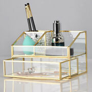 Makeup Brush Holder Antique Glass Cosmetics Storage Case For Dressing Table