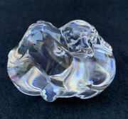 Steuben Art Glass Puppy Love Two Snuggling Puppies Dog Figurine Paperweight