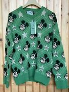 New Disney Mickey Mouse Gg Star Knit Sweater Mens Xl Size Green Rare