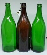 Lot Of 3 Antique 1920and039s Saratoga Vichy Mineral Water Bottles Quart Green Brown