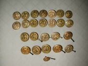 25 Vintage U.s. Navy Brass Eagle And Anchor Buttons
