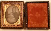 Orig Vict Post Mortem Baby And Mother 1/6 Plate Daguerreotype Photo - Color Tinted