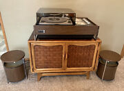 Zenith Stereo Record Player Troubadour Z590 Circle Of Sound Speakers Restored