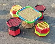 Cane Bamboo Table And Chair Set 1 Table And 4 Chairs For Outdoor/indoor/furnishing