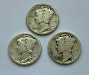 Lot Of 3 Silver Mercury Dime 19191920 D And 1923 Coins