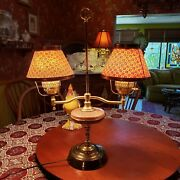 Vintage Double Arm, Student Tole Brass Lamp 26 Tall 20 Wide