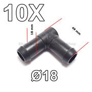 10x 18 Mm L-type 90 Degree Elbow Hose Pipe Tube Connector For Air Fuel Water