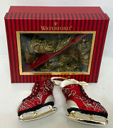 Waterford Heirlooms Ice Dancing Skates Glass Christmas Ornament Set Waterford