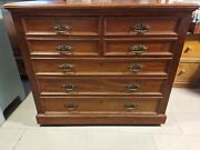 Large Antique Dresser W/ 4 Small Upper Drawers, 4 Lower Drawers