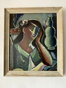 Fine 1950s Cubist Oil Painting -signed Vintage Modern Cubism Expressionist Woman
