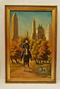Ny City Nypd Mounted Police On Horseback Central Park W Skyscrapper Oil Painting