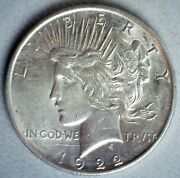 1922 D Silver Peace Dollar 1 Us Coin Almost Uncirculated Denver Minted Dollar