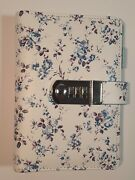 Blue Floral Diary With Lock A6 Refillable Locking Journal Soft Leather Binder