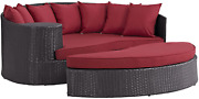 Modway Convene Wicker Rattan Outdoor Patio Poolside Sectional Sofa Daybed With C