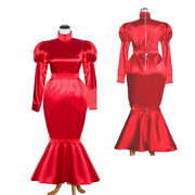 French Sissy Maid Satin Red Dress Lockable Uniform Cosplay Dressers Tailor-made