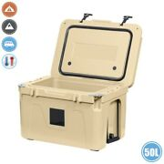 50l Ice Cooler Cool Box Insulated Thermal Portable Travel Camping Boat Truck Tan