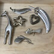 Vintage Leaf Cottage Brooch Pin Sterling Silver Lot Of 7 Rch King Su H.s.b. Roma