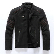 Mens Faux Leather Stand Collar Zip Motorcycle Jackets Casual Outwear Slim Coats
