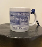 Vintage Starbucks Pike Place First Store Blue White Coffee Mug Ornament 2006 07