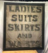 Antique Hand Painted On Canvas Ladies Seamstress Sign Folk Art