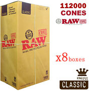 Authentic Raw 1400 Classic King Size Cones 109mm Pre Rolled Hemp Cones 8 Boxes