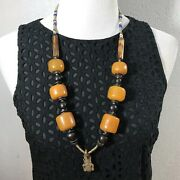 Vintage African Berber, Amber, Trade Beads And Salamader Necklace