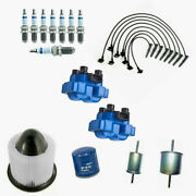 Racing Ignition Coil + Bosch Spark Plugs Tune Up Kit For Ford Expedition 4.6l V8