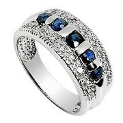 Inexpensive .5 Carat Sapphire Wedding Ring Band For Her