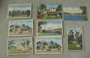 Lot Of 8 Vintage 1940s Miami Beach Florida Postcards Homes Hotel More