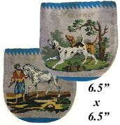 Rare Antique C.1820-30 Beaded Purse, Pouch, Glass Beads, Horse And Dogs, Figural