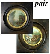 Pair Miniature Oil Paintings, Landscapes W People, Charles X To Napoleon Iii