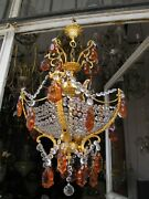 Antique Vnt French Art Nouveau Crystal Chandelier Lamp Light 1940and039s 18in Andoslash Rare