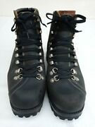 Vtg. Bally Menand039s Black Leather Army Mountain Hiking Boots Size 27/ Us 8 - 8.5